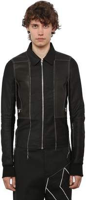 Rick Owens Cotton & Leather Bomber Jacket