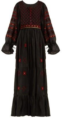 694fb537faf Vita Kin - Geometric Embroidered Linen Dress - Womens - Black Multi