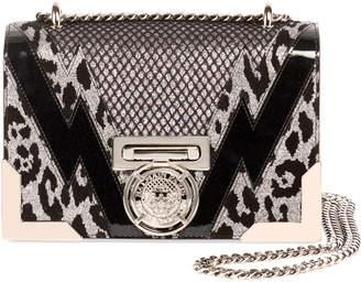 Balmain Box 20 Flap Mixed Media Shoulder Bag