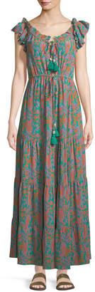 Figue Gianna Paisley Cap-Sleeve Maxi Dress