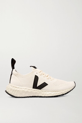 Rick Owens Veja Vegan-leather Trimmed V-knit Sneakers - White