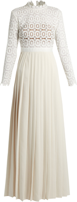 SELF-PORTRAIT Long-sleeved lace and crepe maxi dress $550 thestylecure.com