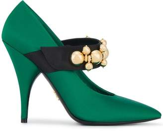 Prada Green Gold Bauble 110 Satin Pumps