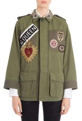 Dolce & Gabbana Cotton Embroidered Logo Patch Jacket