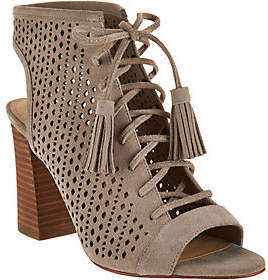 Marc Fisher Perforated Suede Lace-up Booties -Satire