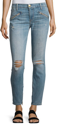 Current/Elliott The Silverlake Zip Cropped Skinny Jeans, Ticker Destroy $129 thestylecure.com