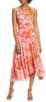 Eliza J Print Handkerchief Hem Midi Dress