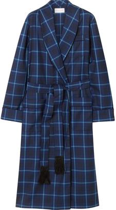 Derek Rose York Checked Wool Robe $700 thestylecure.com