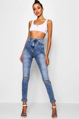 boohoo Tall Ripped Knee Turn Up Jeans