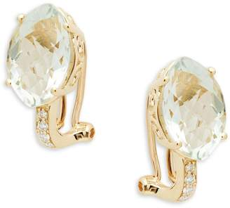 Effy 14K Yellow Gold, Green Amethyst & White Diamond Leverback Earrings