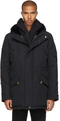 Yves Salomon Black Down and Fur Parka