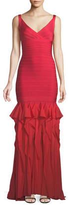 Herve Leger V-Neck Sleeveless Bandage Evening Gown w/ Ruffled Chiffon Skirt