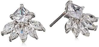 Kenneth Jay Lane Cz By Women's 2Cttw Multi Cz Ear Pierced Princess/Marquis Fringe Stud Earrings
