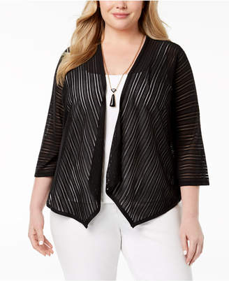 Alfani Plus Size Sheer-Stripe Cardigan, Created for Macy's