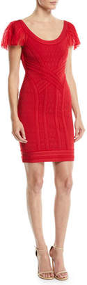 Herve Leger Off-the-Shoulder Tulle & Lace Body-Con Cocktail Dress