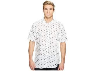 True Grit Paradise Palm Short Sleeve Cotton and Linen Shirt w/ Stitch Details Men's Clothing