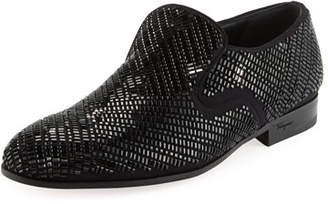 Salvatore Ferragamo Men's Crystal-Studded Formal Loafer, Black