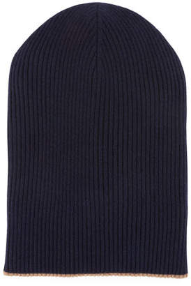 Brunello Cucinelli Men's Cashmere Reversible Ribbed Beanie Hat
