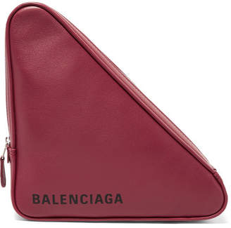 Balenciaga Triangle Printed Leather Pouch - Burgundy