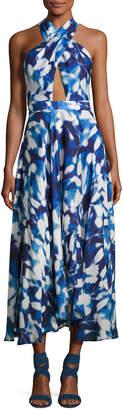 Milly Silk Chiffon Petal Midi Dress, Blue