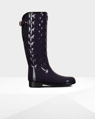 Hunter women's refined adjustable quilted gloss wellington boots