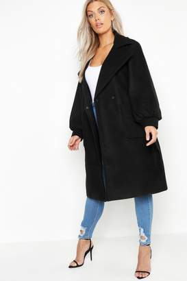 boohoo Plus Belted Wool Look Mac