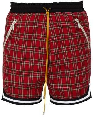 Rhude Basketball Tartan Cotton Shorts - Mens - Red