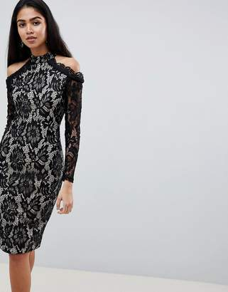 AX Paris Long Sleeve Lace Pencil Dress With Cold Shoulder