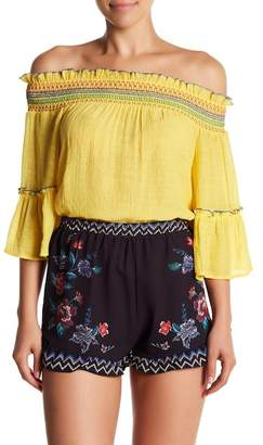 Flying Tomato Off-the-Shoulder 3/4 Sleeve Top