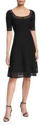 Milly Transparent Stripe Elbow-Sleeve Fit-&-Flow Dress