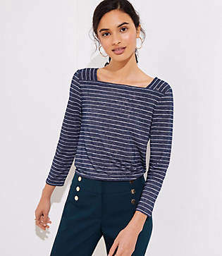 LOFT Striped Square Neck Tee