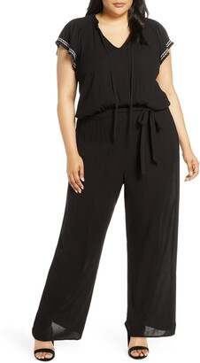 CeCe Flutter Sleeve Embroidered Jumpsuit