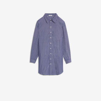 Balenciaga Pulled Shirt Dress in dark blue and white striped cotton poplin