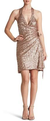 Dress the Population Danielle Sequin Wrap Mini Dress
