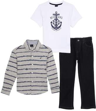 Nautica Little Boys Long Sleeve Button up Shirt, Tee and Pull On Denim Pant Set