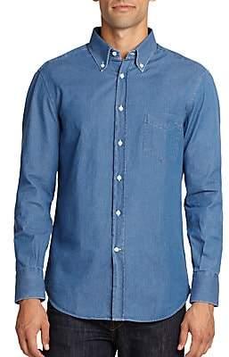 Brunello Cucinelli Men's Cotton Chambray Button-Down Shirt