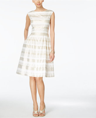 Vince Camuto Striped Cap-Sleeve Fit & Flare Dress $148 thestylecure.com