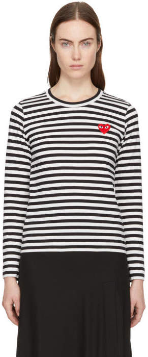 Comme des Garçons Play Black and White Long Sleeve Striped Heart Patch T-Shirt