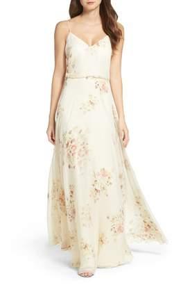 Jenny Yoo Inesse V-Neck Chiffon Gown