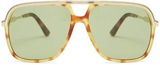 Gucci Squared-aviator acetate sunglasses