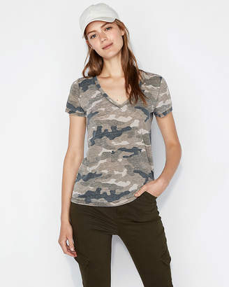Express One Eleven Camo Burnout V-Neck Slim Tee