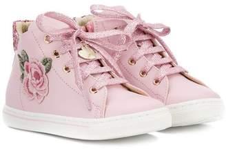 MonnaLisa floral appliqué hi-top sneakers