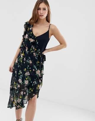 Bershka One Sleeve Floral Tea Dress