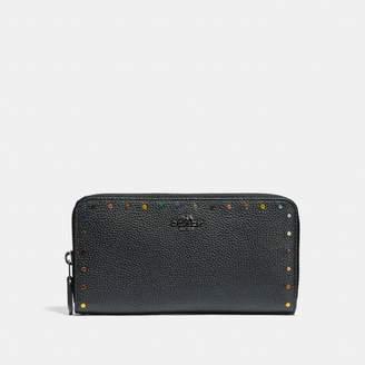 Coach Accordion Zip Wallet With Rainbow Rivets