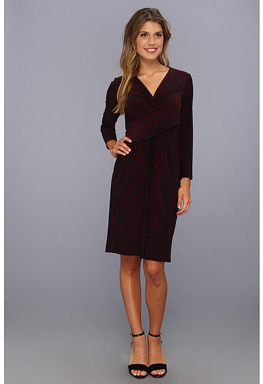 Nine West 3/4 Sleeve Front Draping Jersey Dress