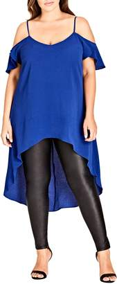 City Chic Charmer Off Shoulder High/Low Top
