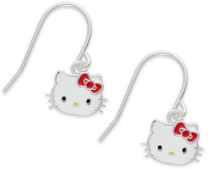 Hello Kitty Earrings, Sterling Silver Drop Earrings