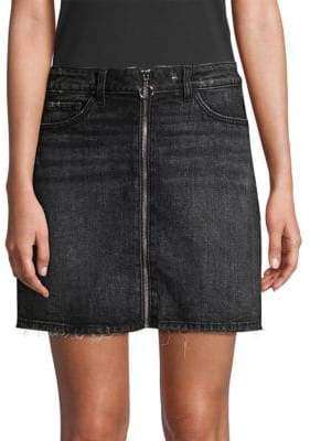 Paige Aideen Zip-Front Denim Mini Skirt
