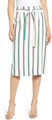 Halogen Tie Waist Stripe Midi Skirt