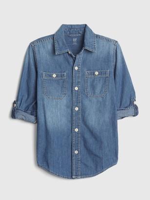 Gap Kids Denim Convertible Long Sleeve Shirt
